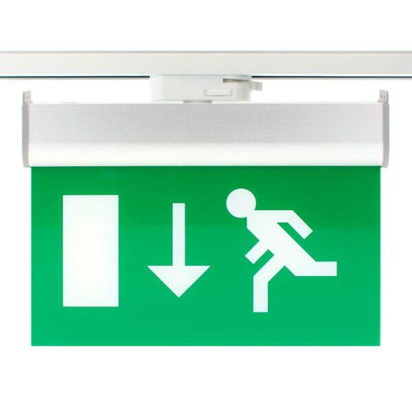 Luz Emergencia permanente para Carril Bifásico Emergency RAIL EXIT