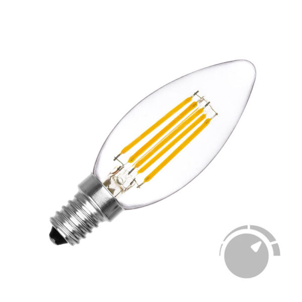 Bombilla Filamento LED Vela E14 COB 6W