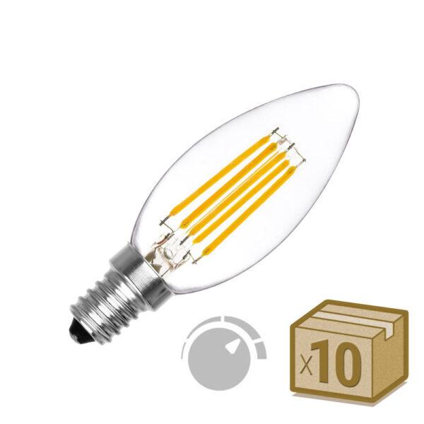Pack 10 x Bombilla Filamento LED Vela E14 COB 6W