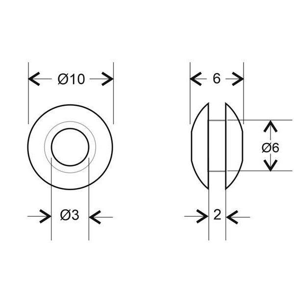 Aro pasacables transparente Ø3 / 2mm