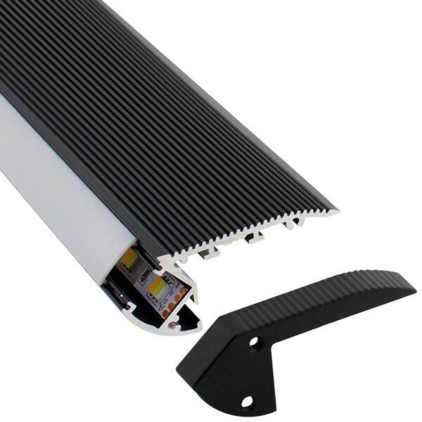 KIT - Perfil aluminio negro CINEMA para tiras LED