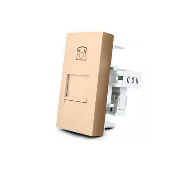 Conector Teléfono RJ11 golden para mecanismo de empotrar