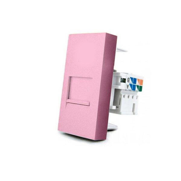 Conector Red RJ45 rosa para mecanismo de empotrar
