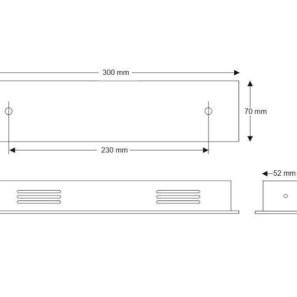 Florón rectangular acero inox 300