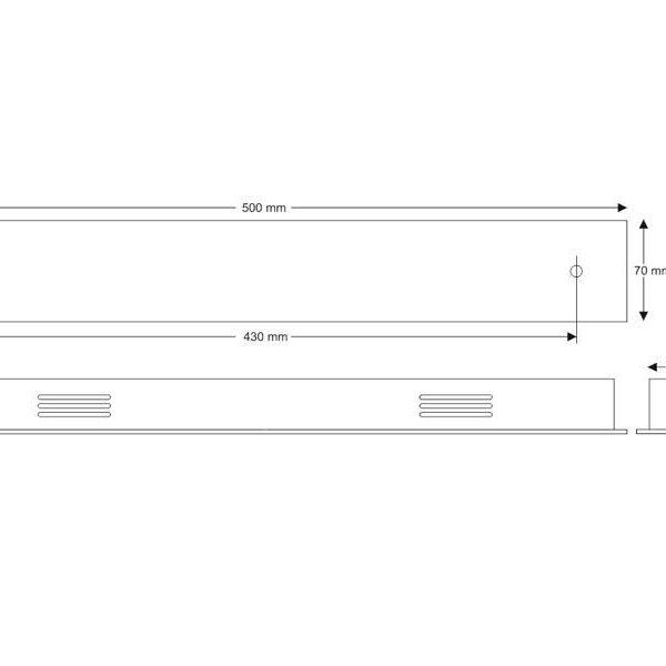 Florón rectangular acero inox 500